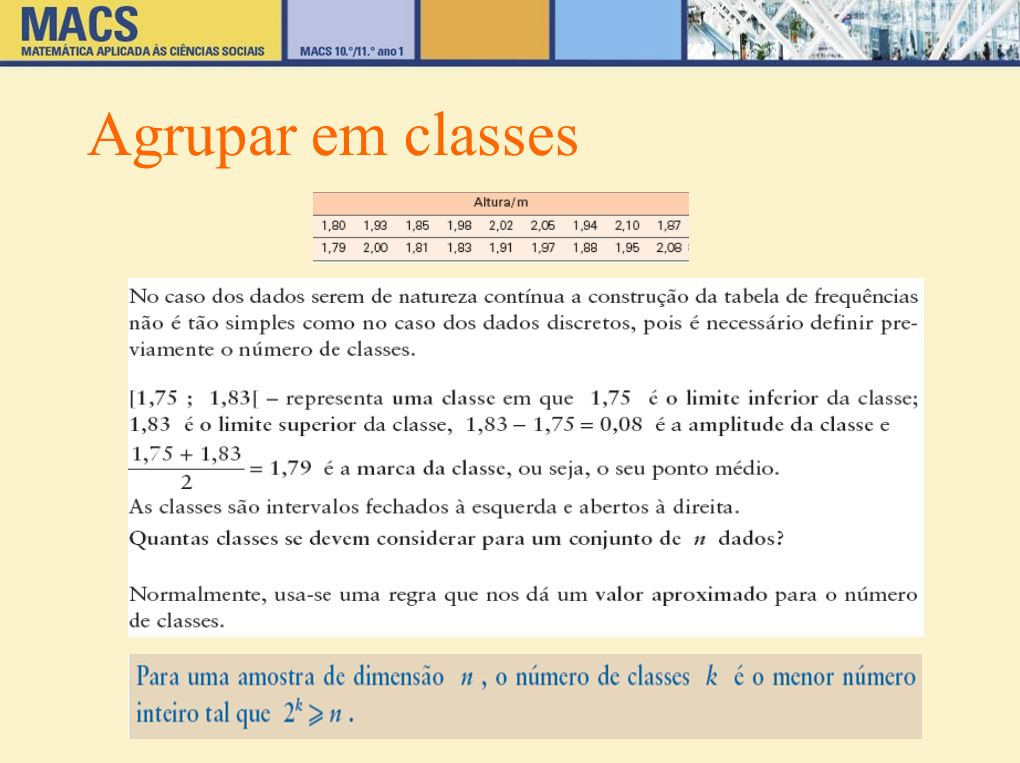 Agrupar em classes