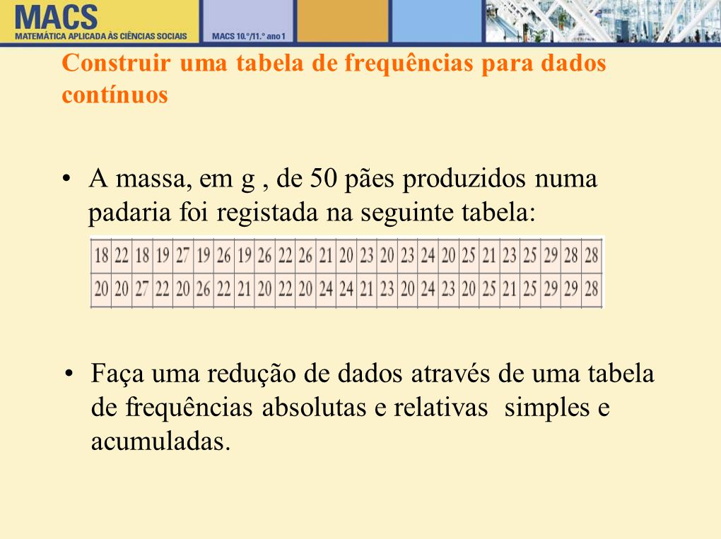 Construir uma tabela de frequências para dados contínuos