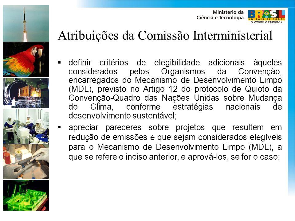 Atribuições da Comissão Interministerial