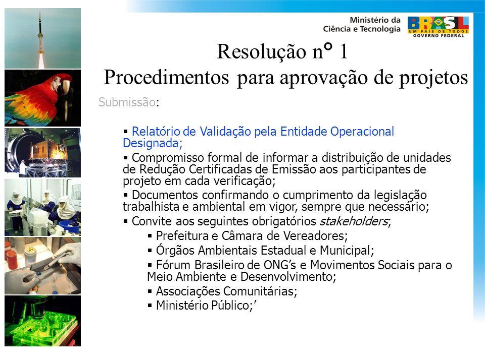 Resolução n° 1 Procedimentos para aprovação de projetos