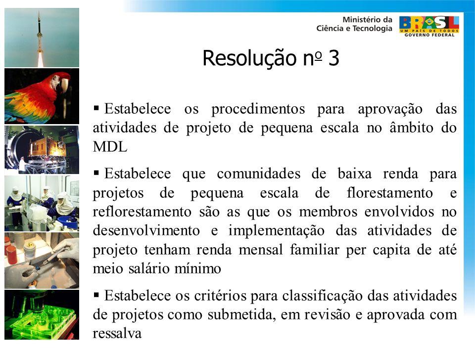 Resolução no 3 Estabelece os procedimentos para aprovação das atividades de projeto de pequena escala no âmbito do MDL.