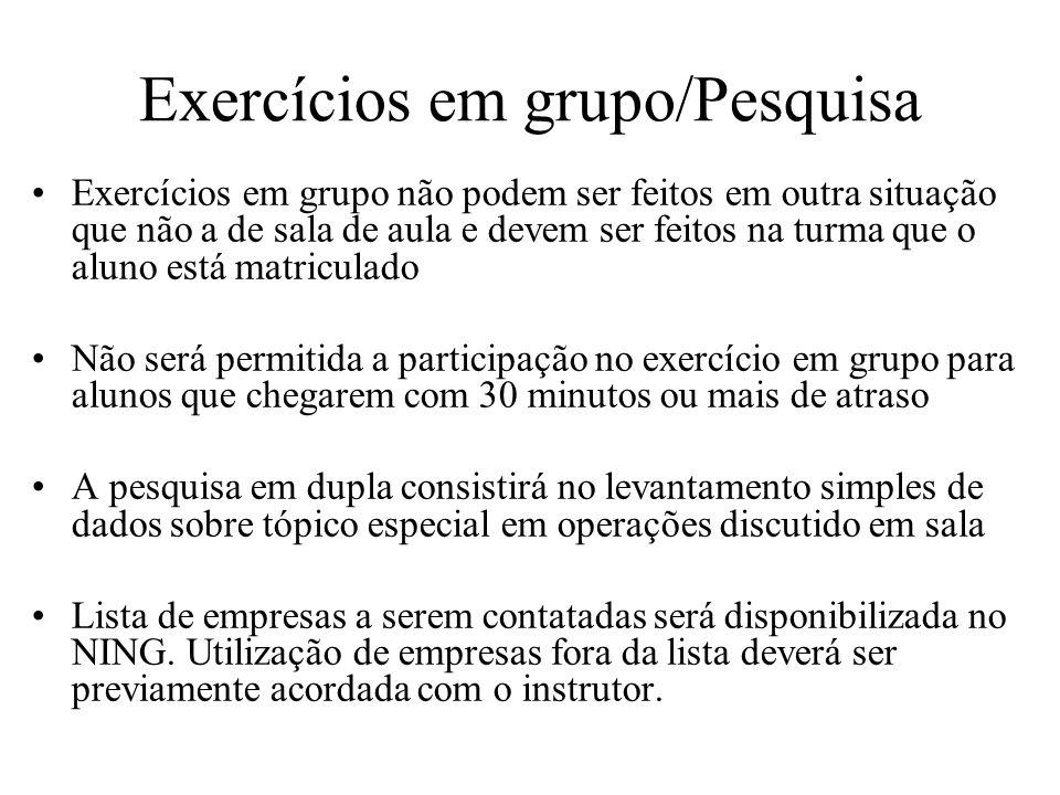 Exercícios em grupo/Pesquisa