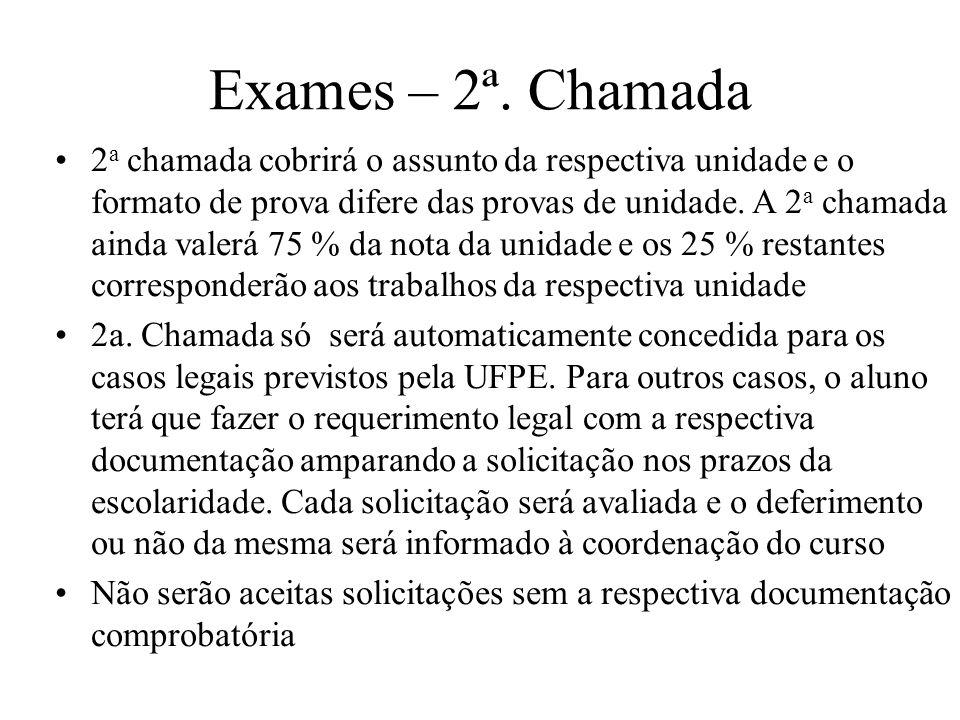 Exames – 2ª. Chamada
