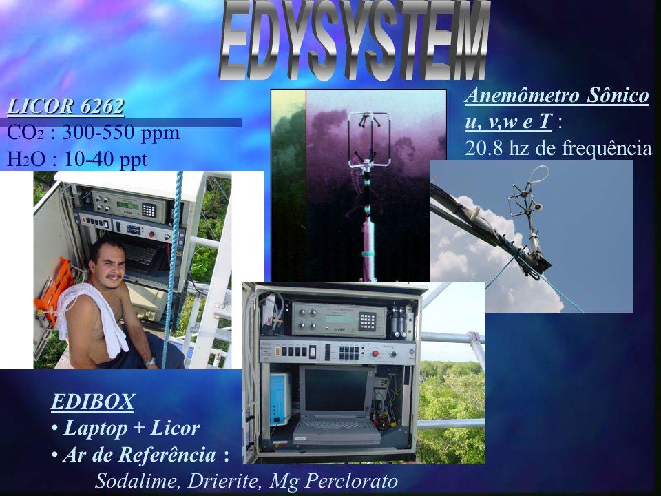 EDYSYSTEM Anemômetro Sônico LICOR 6262 u, v,w e T : CO2 : 300-550 ppm
