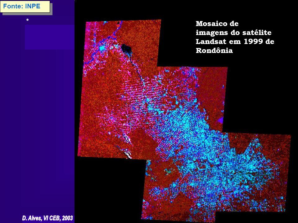 Mosaico de imagens do satélite Landsat em 1999 de Rondônia Fonte: INPE