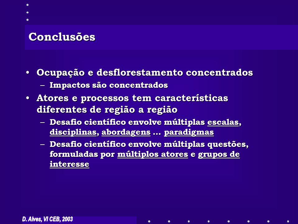 Conclusões Ocupação e desflorestamento concentrados