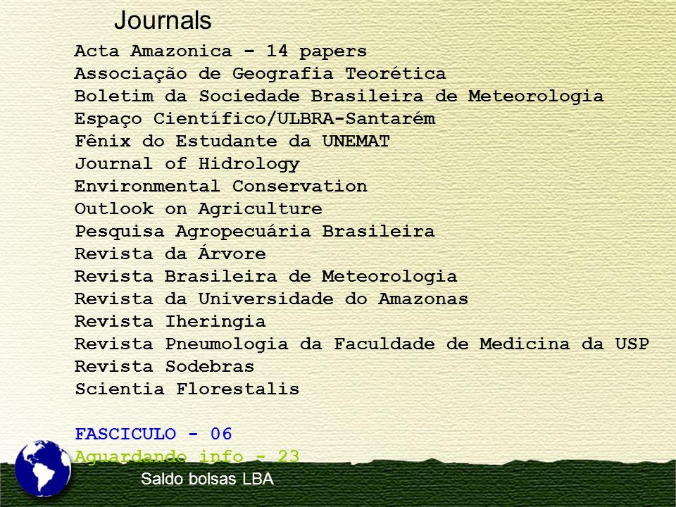 Journals Acta Amazonica – 14 papers Associação de Geografia Teorética