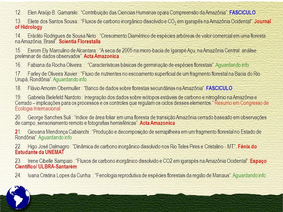 12. Elen Araújo B. Gamarski : Contribuição das Ciencias Humanas opara Compreensão da Amazônia . FASCICULO