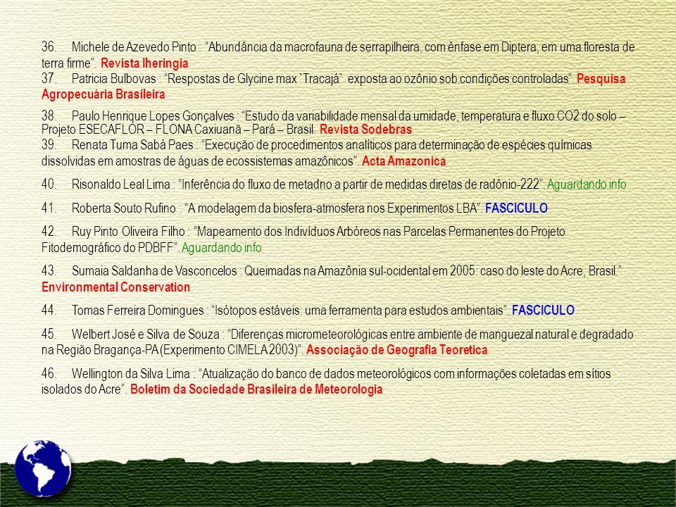 36. Michele de Azevedo Pinto : Abundância da macrofauna de serrapilheira, com ênfase em Diptera, em uma floresta de terra firme . Revista Iheringia