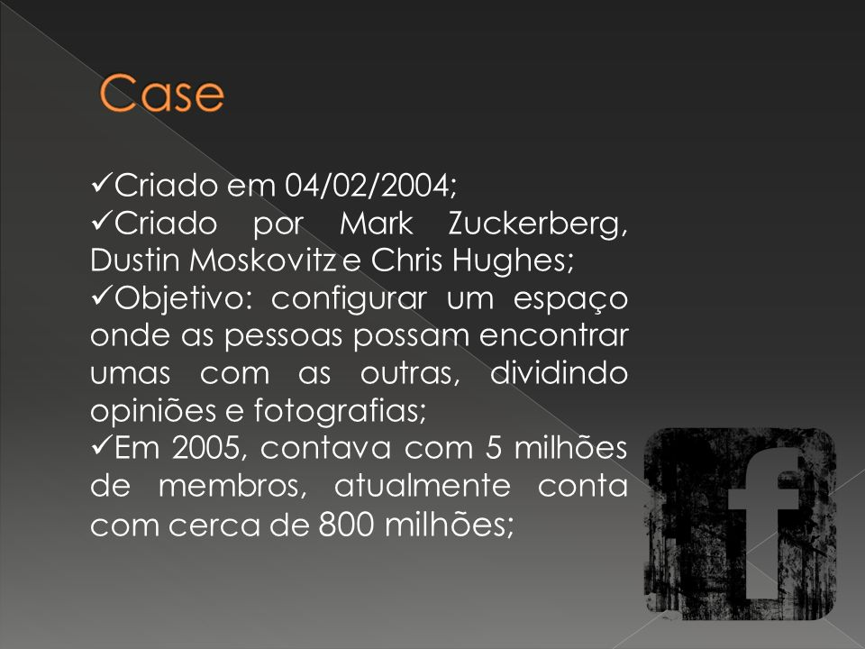 Case Criado em 04/02/2004; Criado por Mark Zuckerberg, Dustin Moskovitz e Chris Hughes;