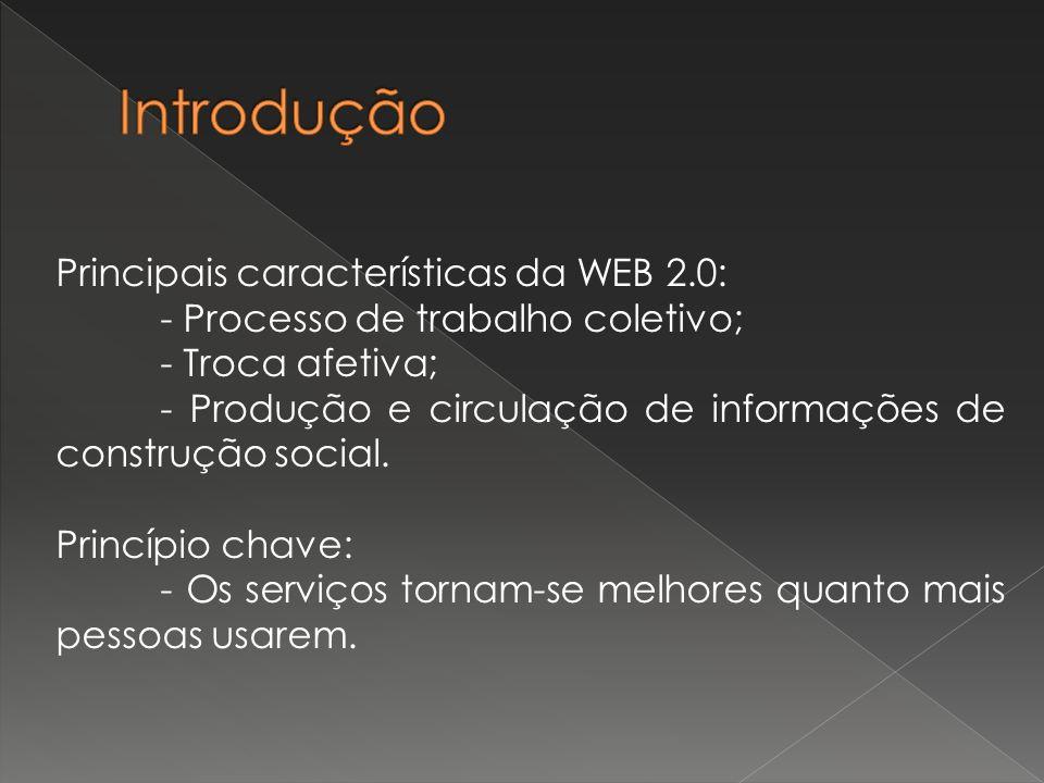 Introdução Principais características da WEB 2.0: