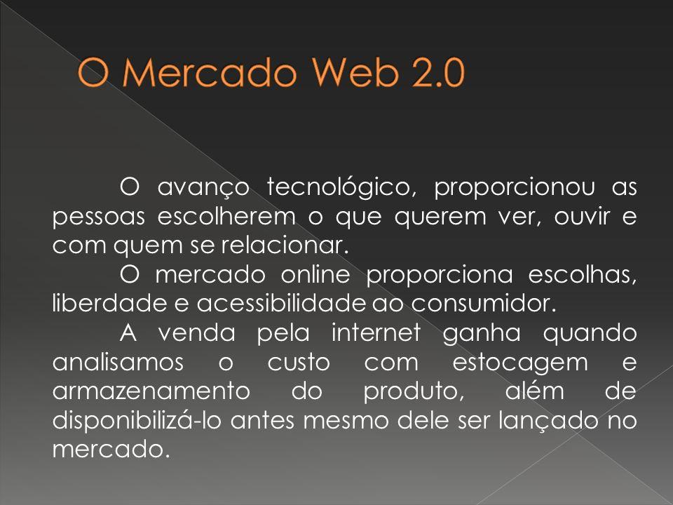 O Mercado Web 2.0 O avanço tecnológico, proporcionou as pessoas escolherem o que querem ver, ouvir e com quem se relacionar.