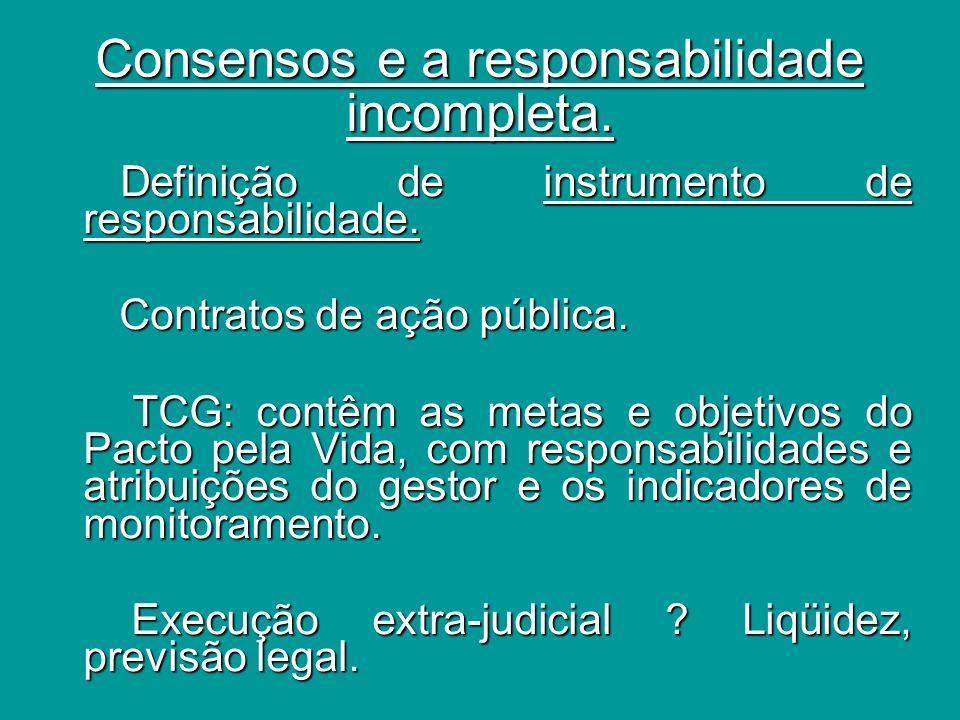 Consensos e a responsabilidade incompleta.
