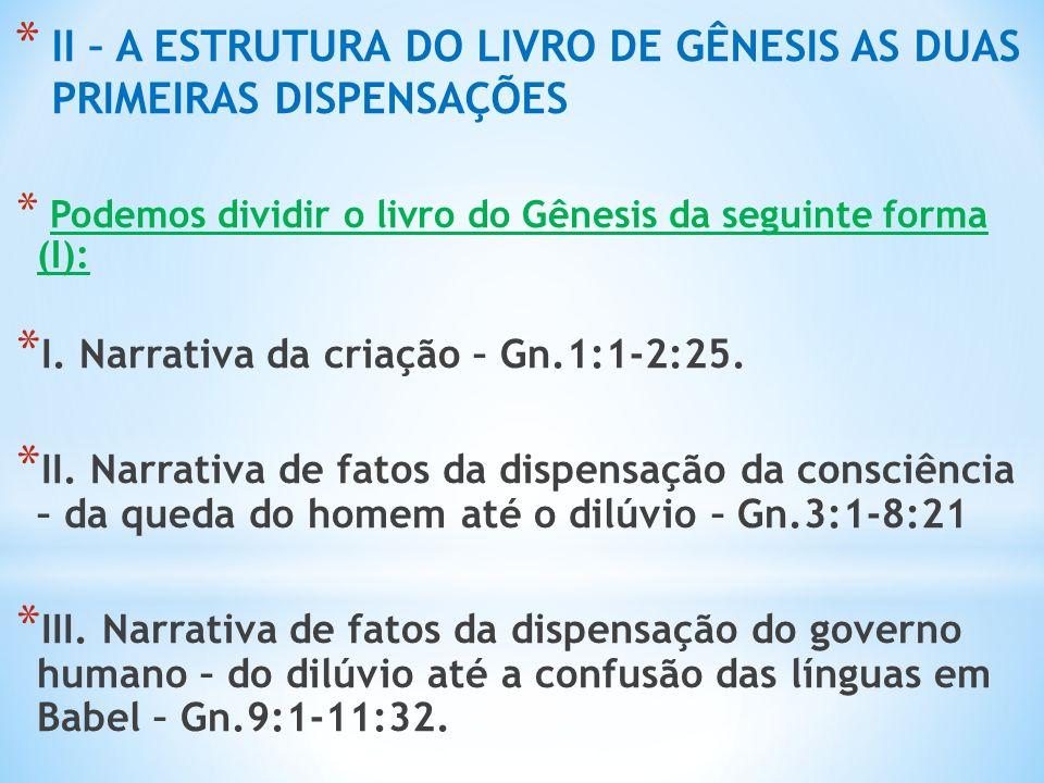 II – A ESTRUTURA DO LIVRO DE GÊNESIS AS DUAS PRIMEIRAS DISPENSAÇÕES