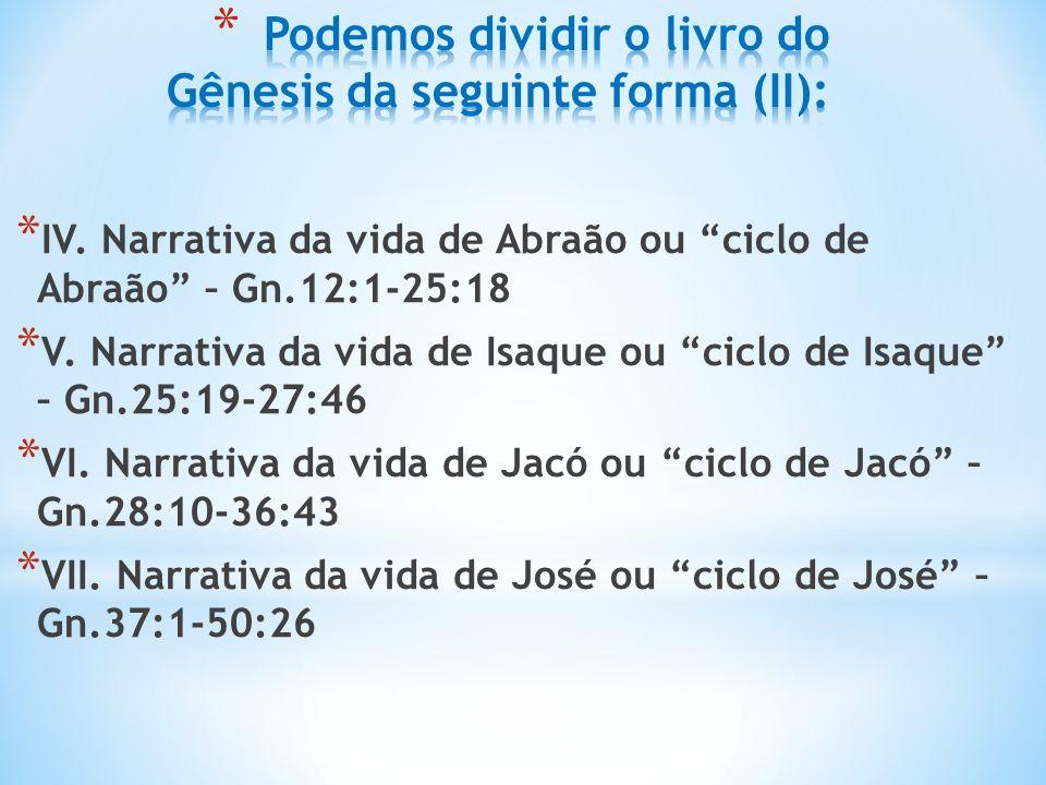 Podemos dividir o livro do Gênesis da seguinte forma (II):
