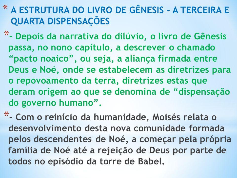 A ESTRUTURA DO LIVRO DE GÊNESIS – A TERCEIRA E QUARTA DISPENSAÇÕES