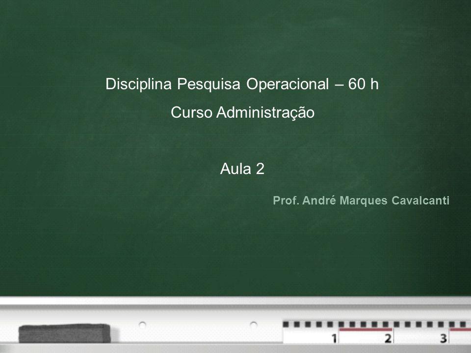 Disciplina Pesquisa Operacional – 60 h