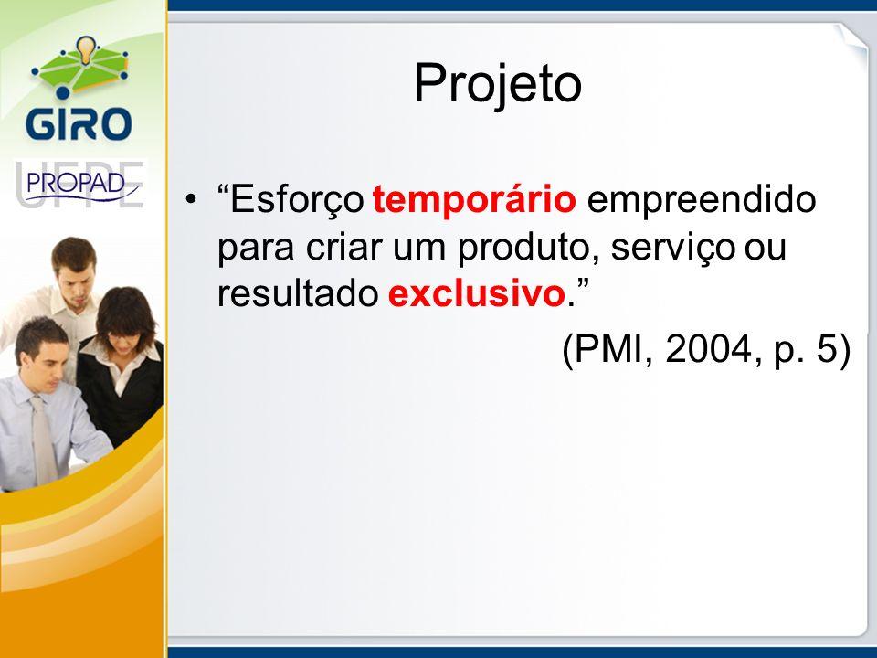 Projeto Esforço temporário empreendido para criar um produto, serviço ou resultado exclusivo. (PMI, 2004, p.
