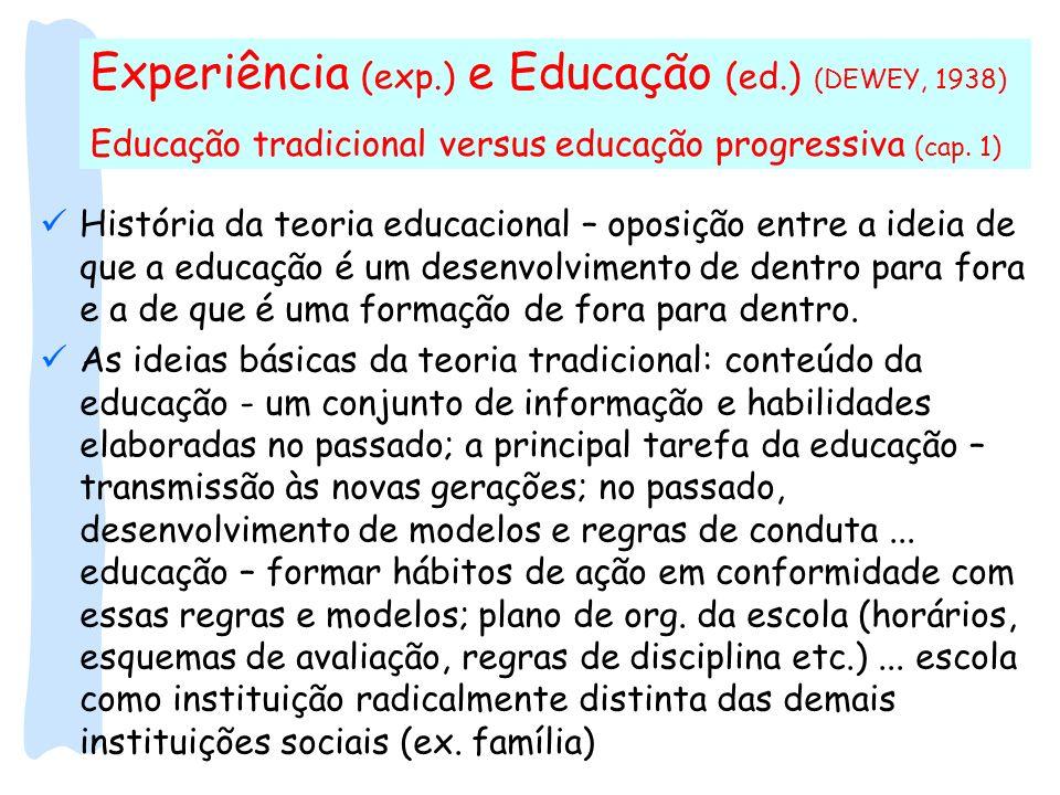 Experiência (exp.) e Educação (ed.) (DEWEY, 1938)