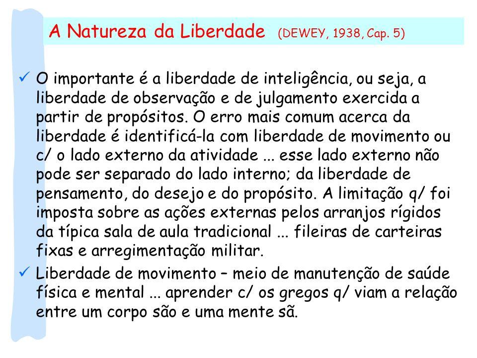 A Natureza da Liberdade (DEWEY, 1938, Cap. 5)