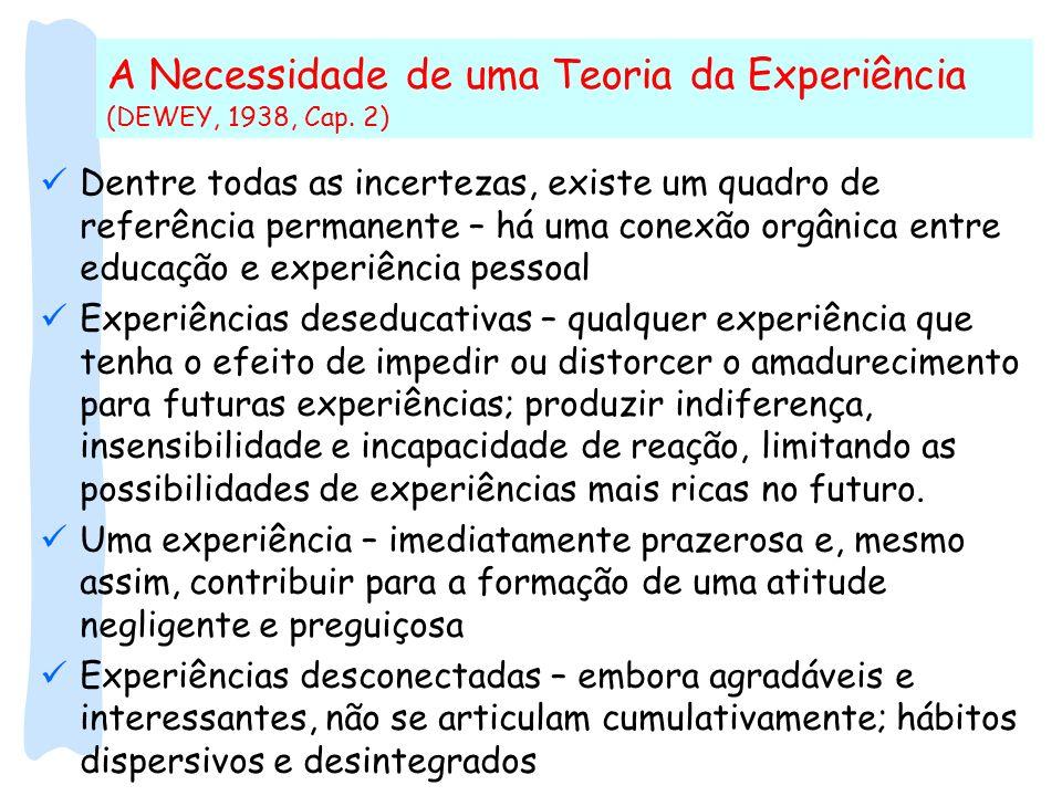 A Necessidade de uma Teoria da Experiência (DEWEY, 1938, Cap. 2)