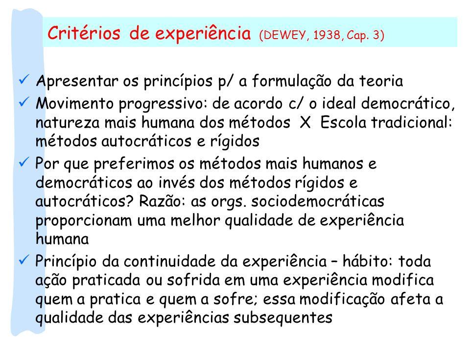 Critérios de experiência (DEWEY, 1938, Cap. 3)