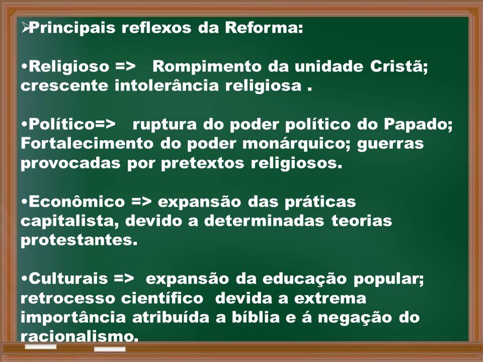 Principais reflexos da Reforma: