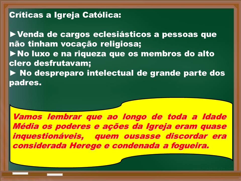 Críticas a Igreja Católica: