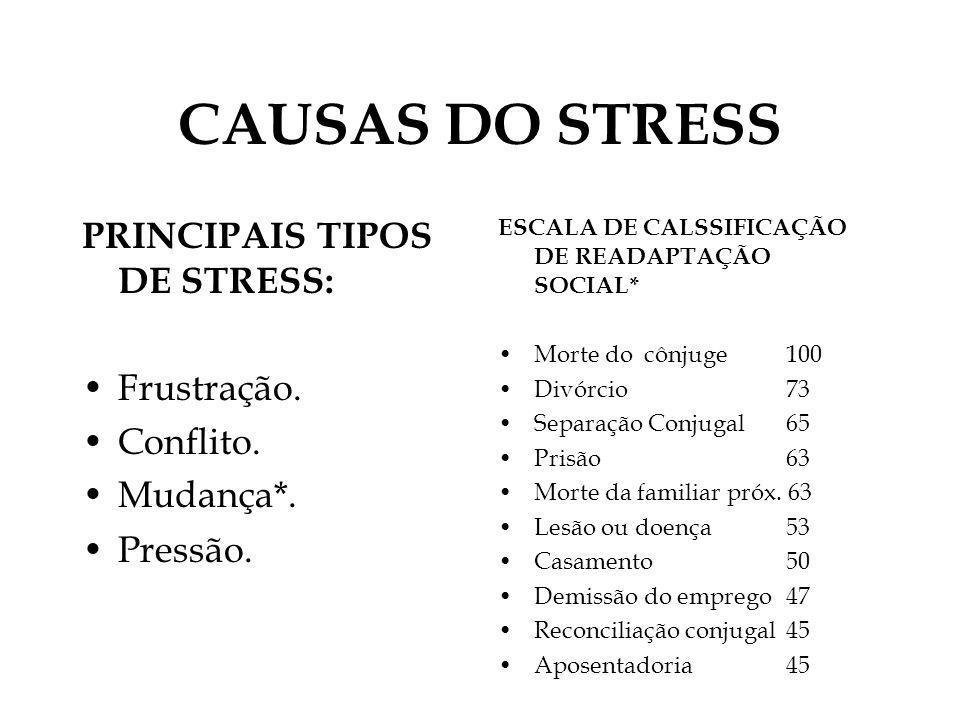 CAUSAS DO STRESS PRINCIPAIS TIPOS DE STRESS: Frustração. Conflito.