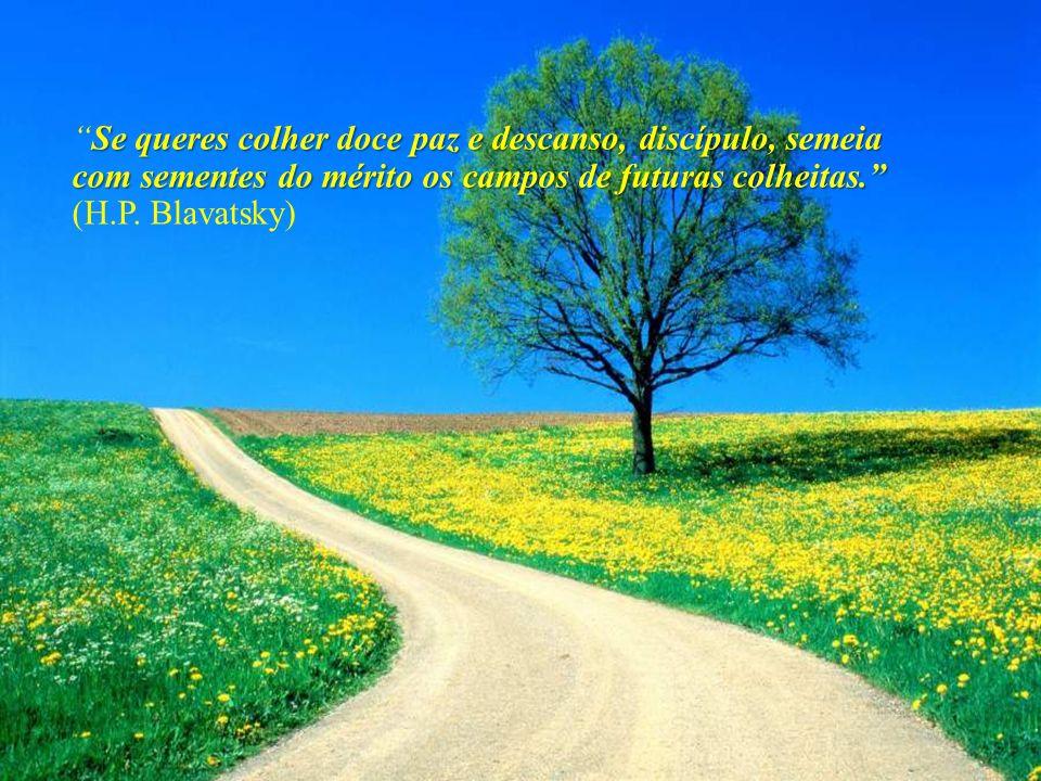 Se queres colher doce paz e descanso, discípulo, semeia com sementes do mérito os campos de futuras colheitas. (H.P. Blavatsky)