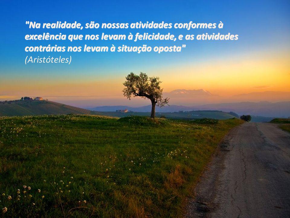Na realidade, são nossas atividades conformes à excelência que nos levam à felicidade, e as atividades contrárias nos levam à situação oposta (Aristóteles)