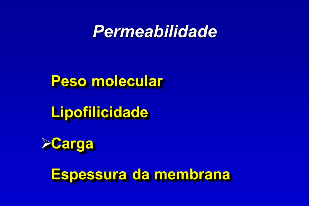 Permeabilidade Peso molecular Lipofilicidade Carga