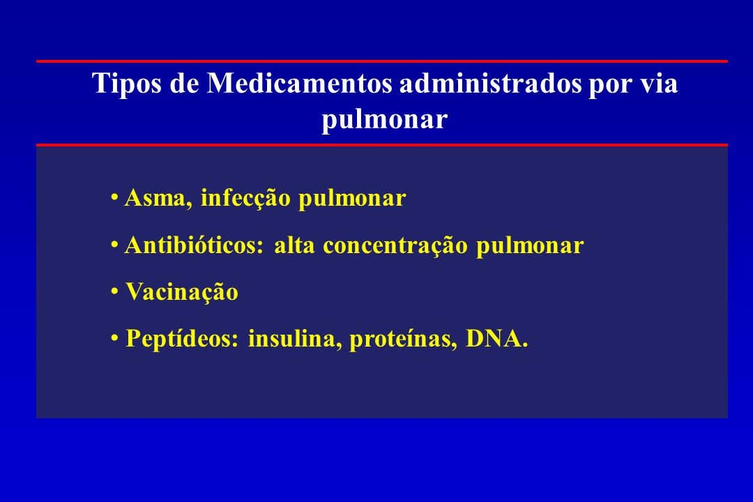 Tipos de Medicamentos administrados por via pulmonar