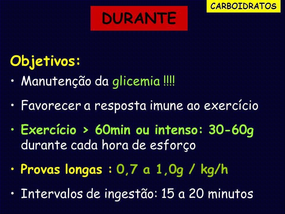 DURANTE Objetivos: Manutenção da glicemia !!!!