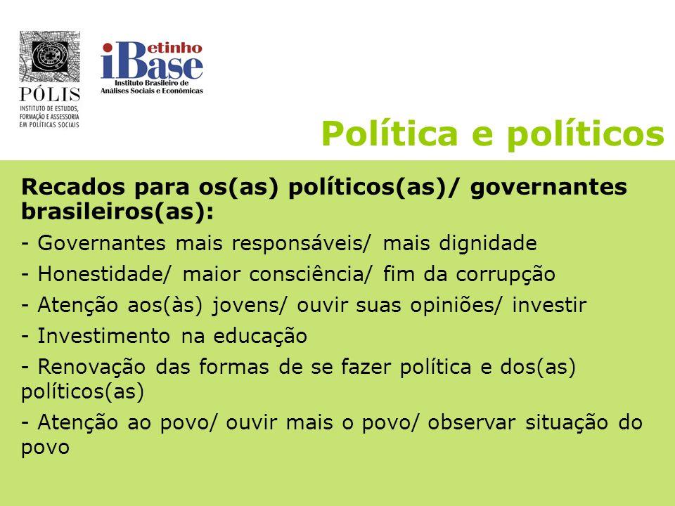Política e políticos Recados para os(as) políticos(as)/ governantes brasileiros(as): - Governantes mais responsáveis/ mais dignidade.