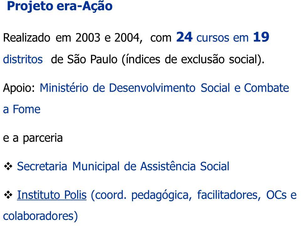 Projeto era-Ação Realizado em 2003 e 2004, com 24 cursos em 19 distritos de São Paulo (índices de exclusão social).