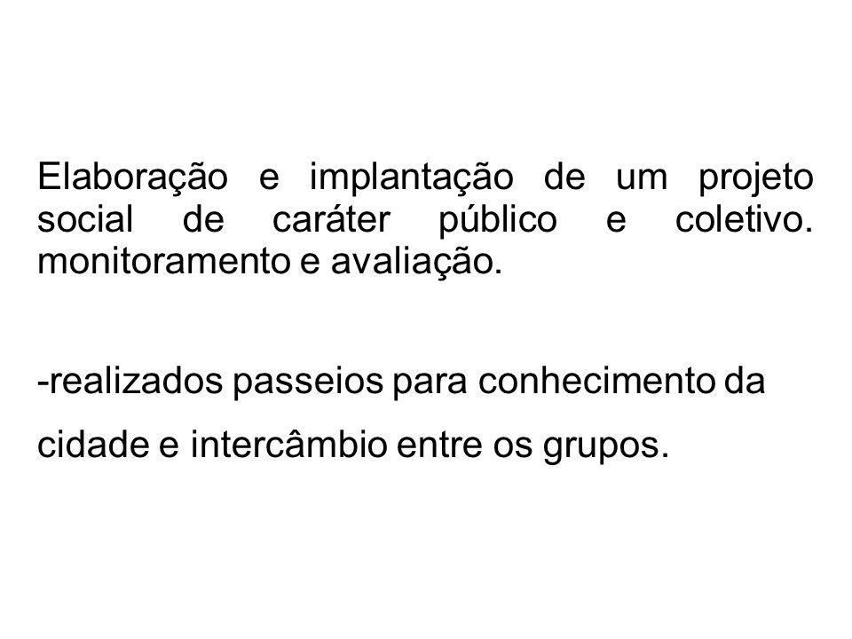 Elaboração e implantação de um projeto social de caráter público e coletivo. monitoramento e avaliação.