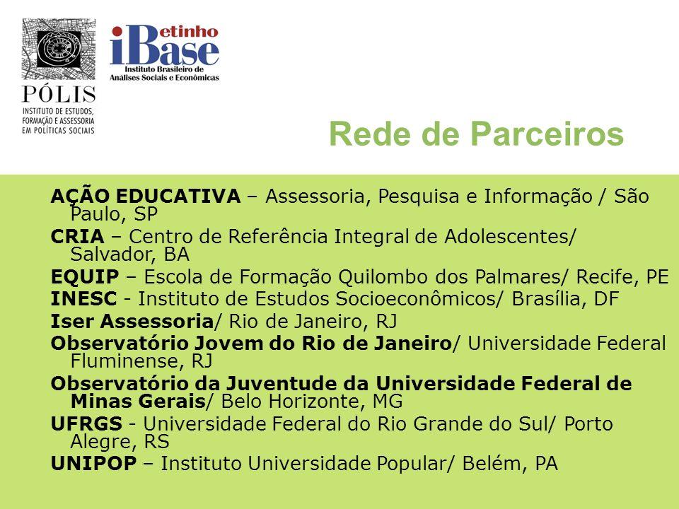 Rede de ParceirosAÇÃO EDUCATIVA – Assessoria, Pesquisa e Informação / São Paulo, SP.