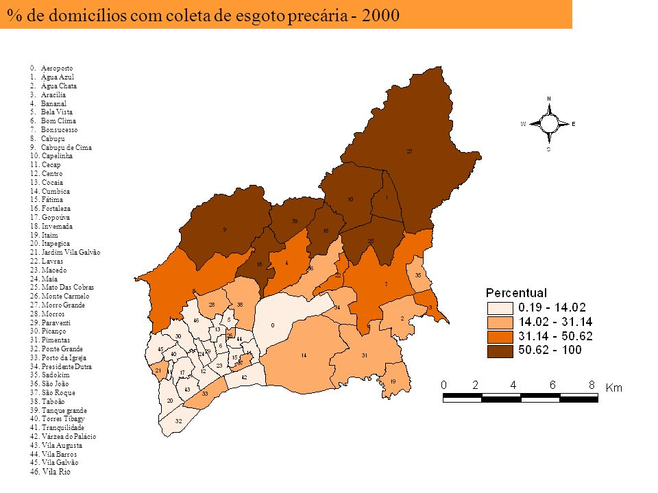 % de domicílios com coleta de esgoto precária - 2000
