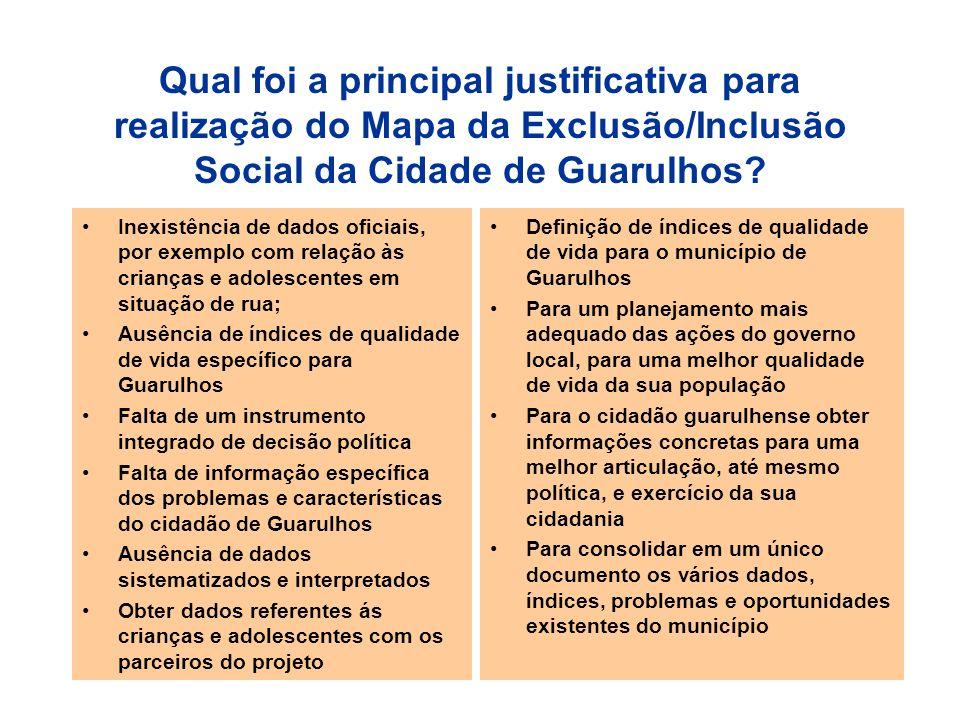 Qual foi a principal justificativa para realização do Mapa da Exclusão/Inclusão Social da Cidade de Guarulhos