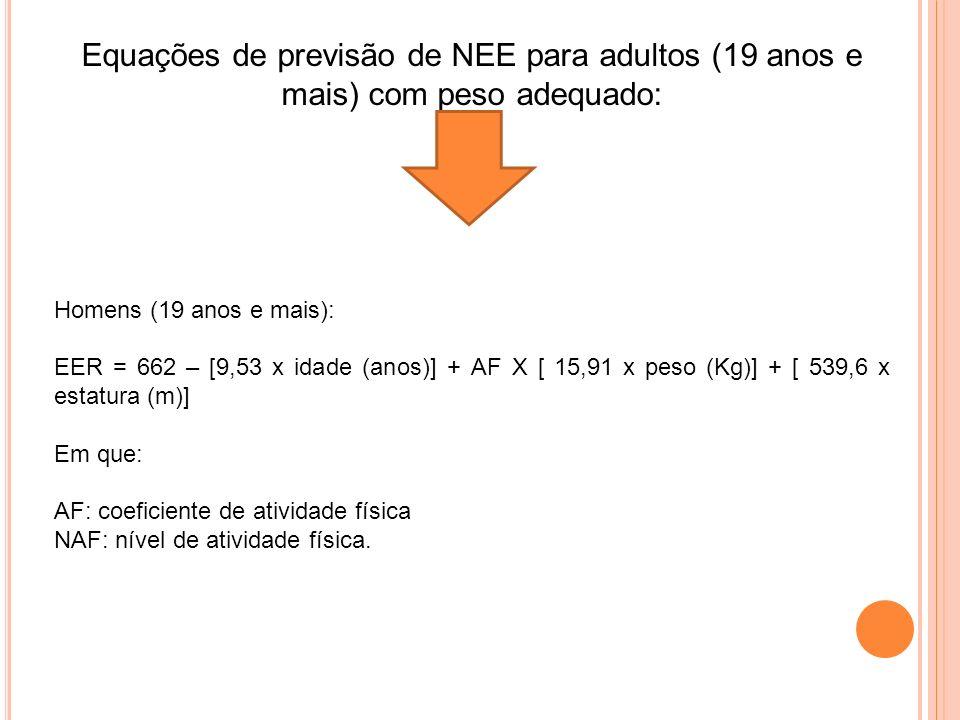 Equações de previsão de NEE para adultos (19 anos e mais) com peso adequado: