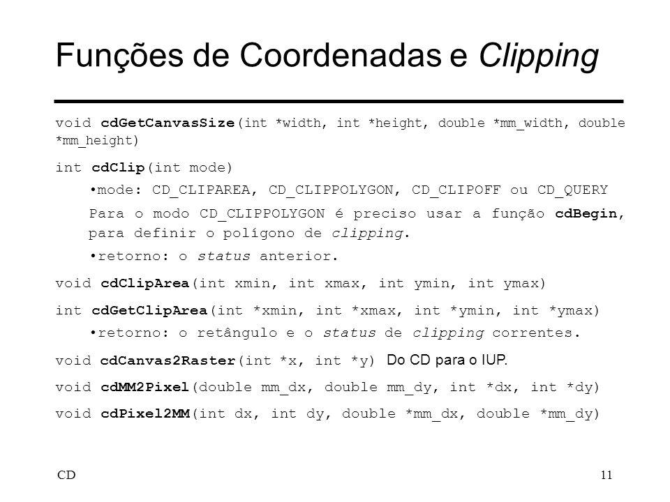 Funções de Coordenadas e Clipping