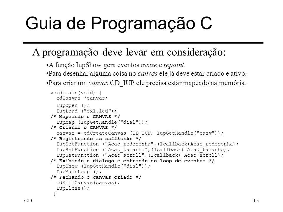 Guia de Programação C A programação deve levar em consideração: