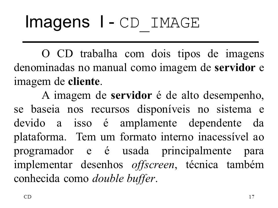 Imagens I - CD_IMAGE O CD trabalha com dois tipos de imagens denominadas no manual como imagem de servidor e imagem de cliente.