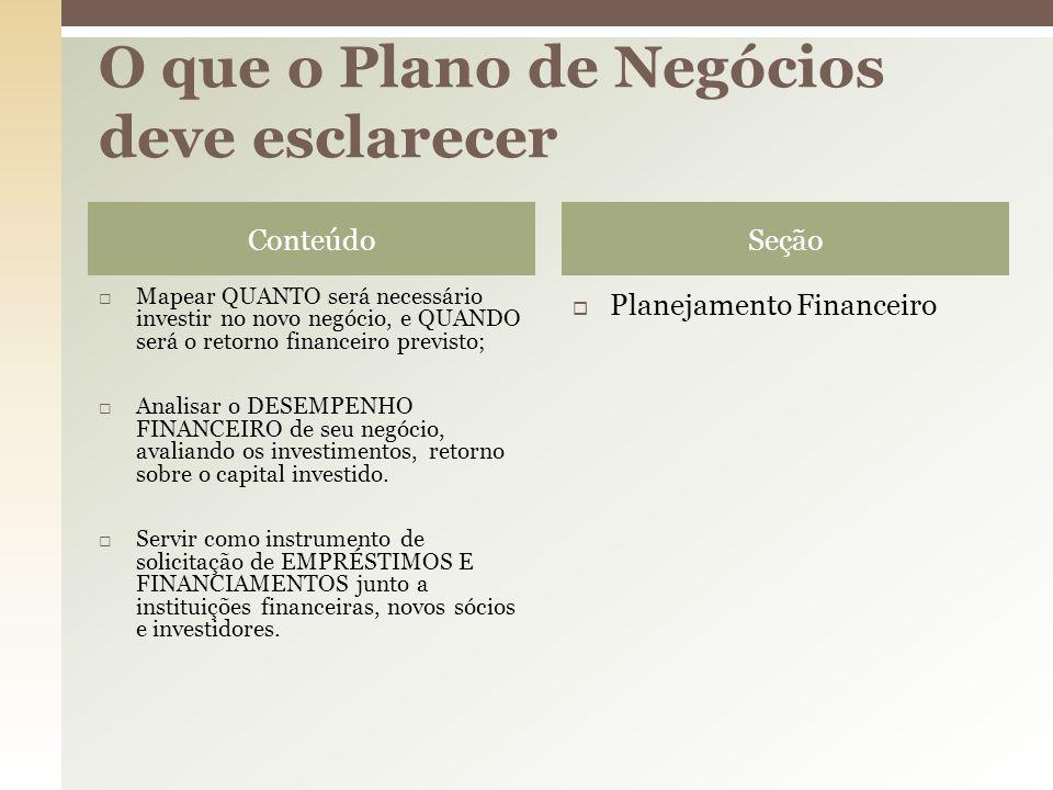 O que o Plano de Negócios deve esclarecer
