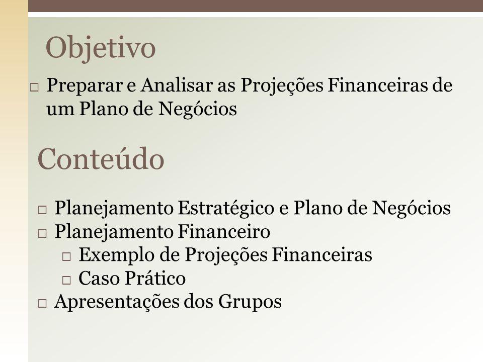 Objetivo Preparar e Analisar as Projeções Financeiras de um Plano de Negócios. Conteúdo. Planejamento Estratégico e Plano de Negócios.