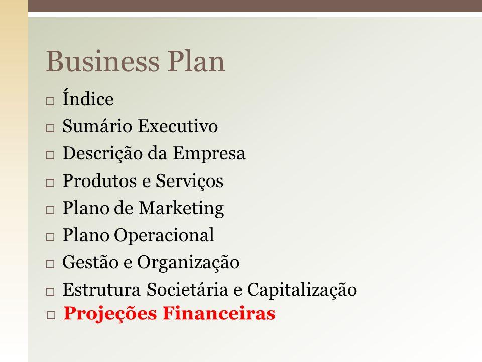 Business Plan Índice Sumário Executivo Descrição da Empresa