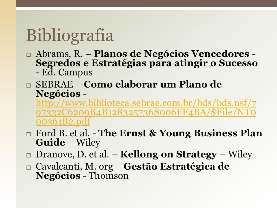 Bibliografia Abrams, R. – Planos de Negócios Vencedores - Segredos e Estratégias para atingir o Sucesso - Ed. Campus.