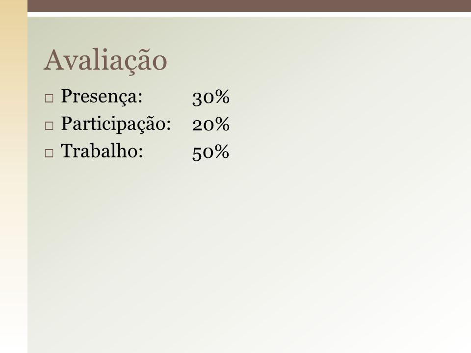 Avaliação Presença: Participação: Trabalho: 30% 20% 50%