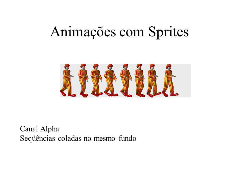 Animações com Sprites Canal Alpha Seqüências coladas no mesmo fundo